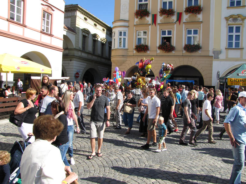 Crowd of people on the Novy Jicin's square fair stock photography
