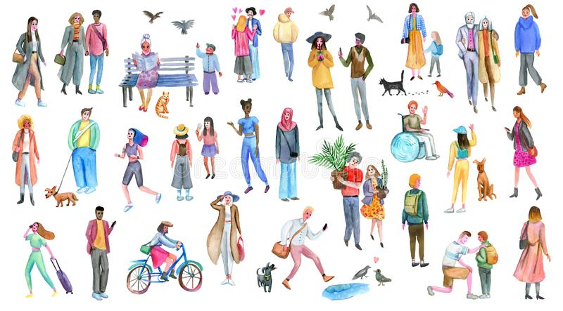 People group outdoor, watercolor sketches. Illustration of diverse stylish men and women. royalty free illustration