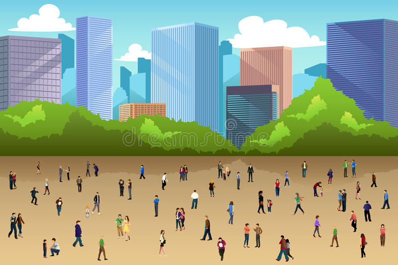 Crowd of People in a Park in the City stock illustration