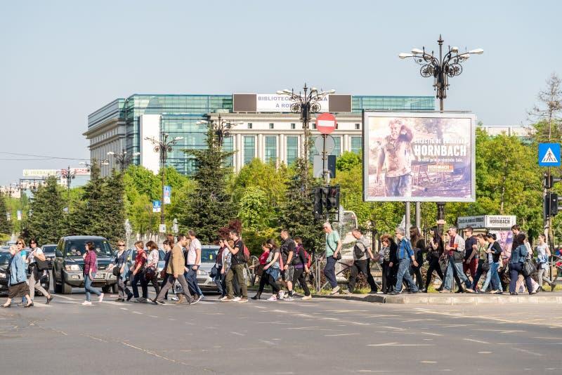 Crowd Of People Pedestrians Crossing Street royalty free stock photo
