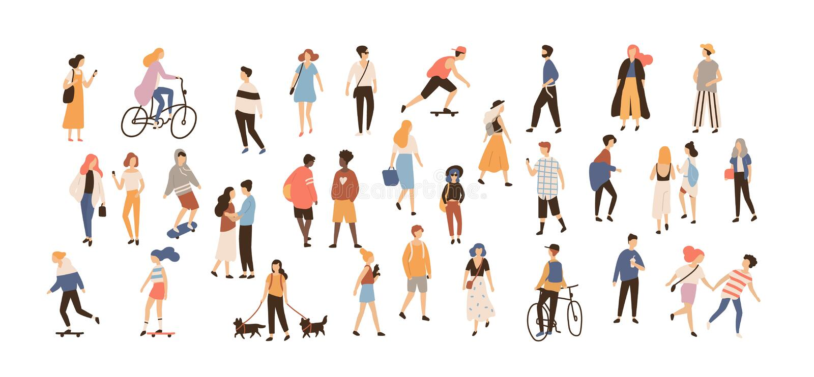 Crowd of people performing summer outdoor activities - walking dogs, riding bicycle, skateboarding. Group of male and royalty free illustration