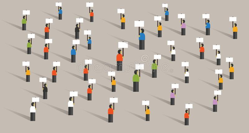 Crowd people protesting many standing holding signs action politics democracy protesters group of human. Vector stock illustration