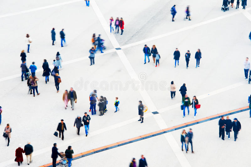 Crowd aerial view. Motion blur royalty free stock images