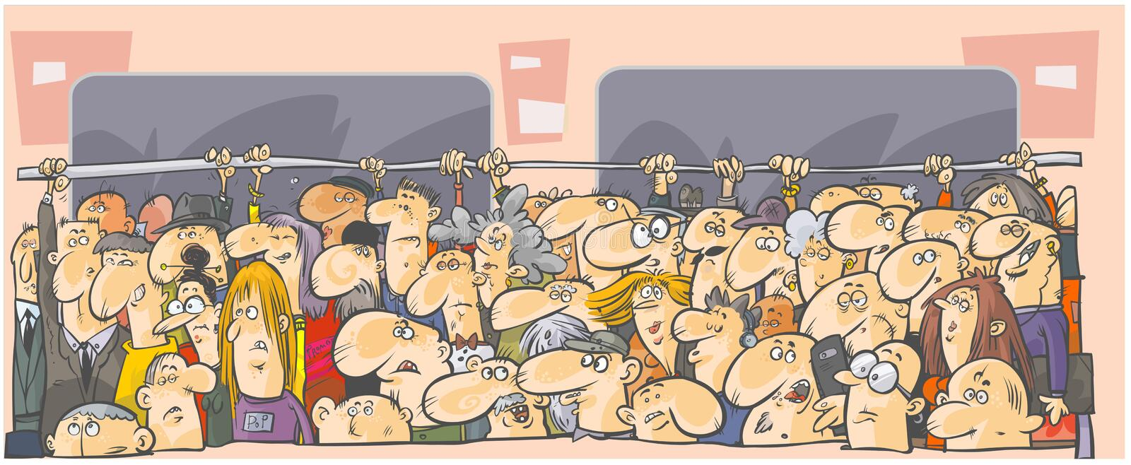 Crowd of people in the public transport. stock illustration