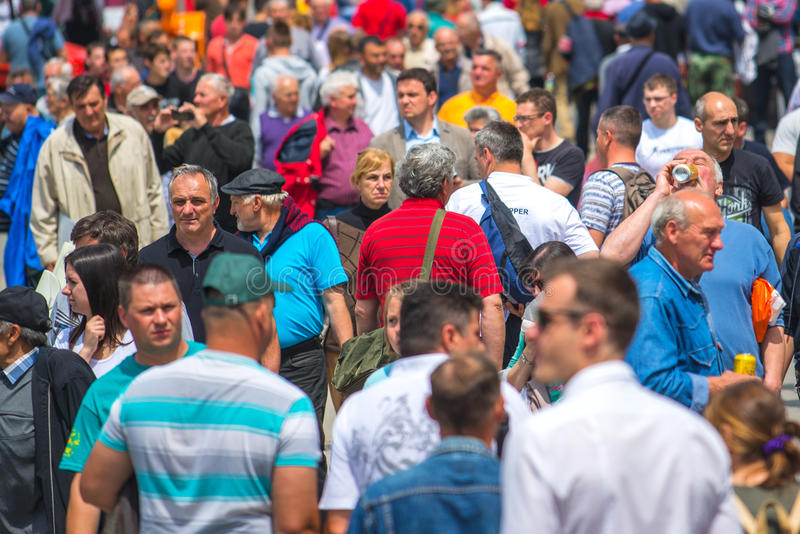 Crowd of people at 83rd Traditional Agricultural fair in Novi Sa royalty free stock photography