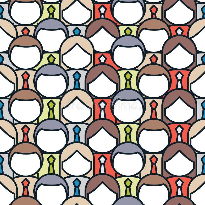 Crowd of people seamless pattern. Flat style vector illustration stock illustration