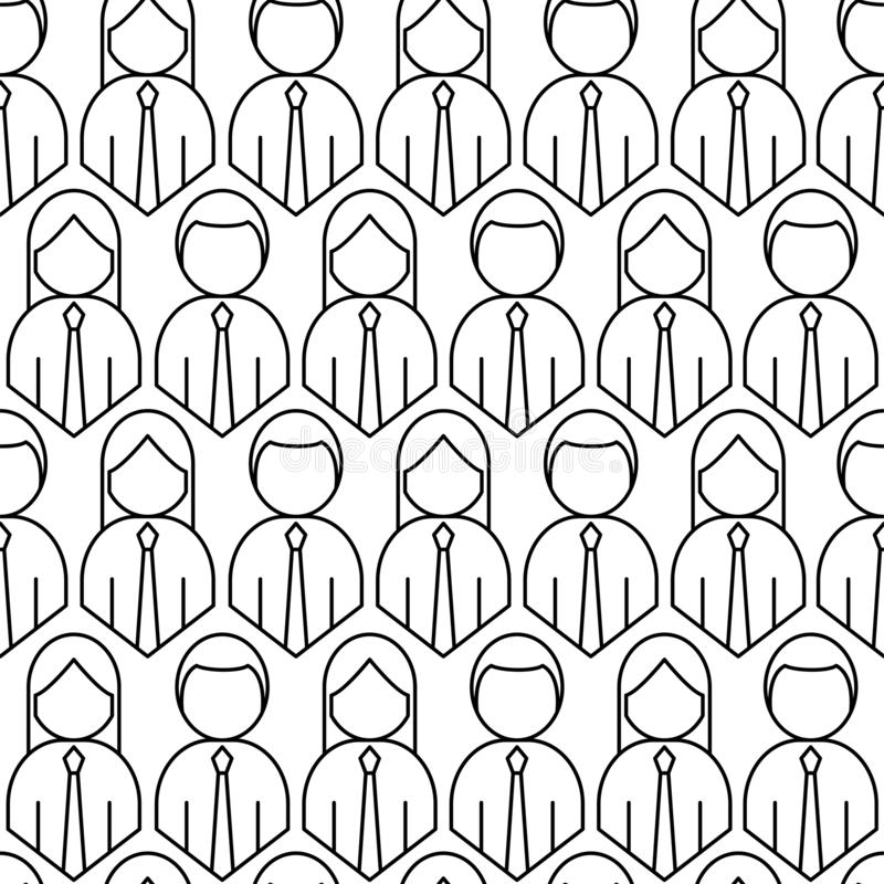 Crowd of people seamless pattern. Outline style vector illustration stock illustration