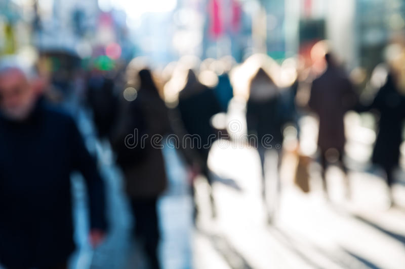 Crowd of people on a shopping street stock images