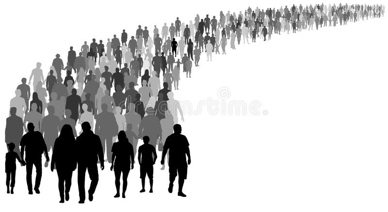 Crowd of people silhouette vector. Resettlement of refugees, emigrants. A lot of walking people vector illustration