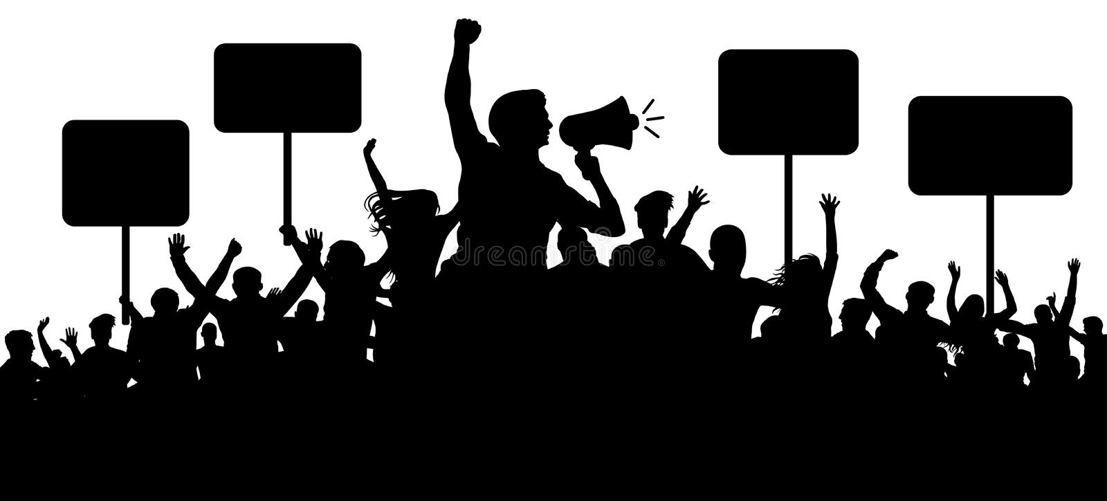 Crowd of people silhouette vector. Transparent, protest slogans. Speaker, loudspeaker, orator, spokesman. Applause of a cheerful people mob. Sports fans vector illustration