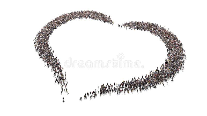 Crowd of people forming a heart shape. Crowd of people standing around and forming a heart shape high resolution royalty free stock photo