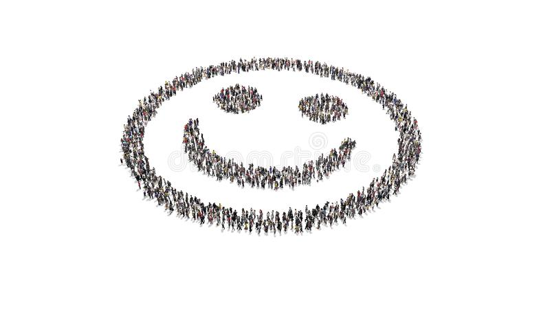 Crowd of people forming a smiley head shape inner part. Crowd of people standing around and forming a smile head shape empty white royalty free stock images