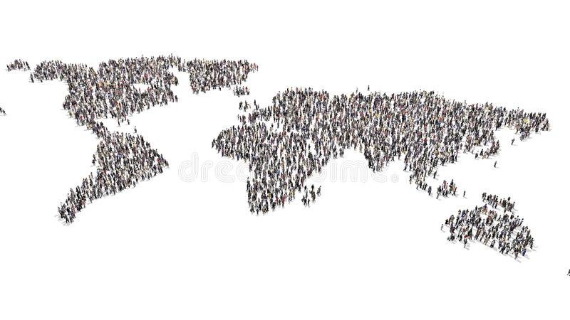 Crowd of people forming world map shape inner part. Crowd of people standing around and forming a world map shape empty white royalty free stock image