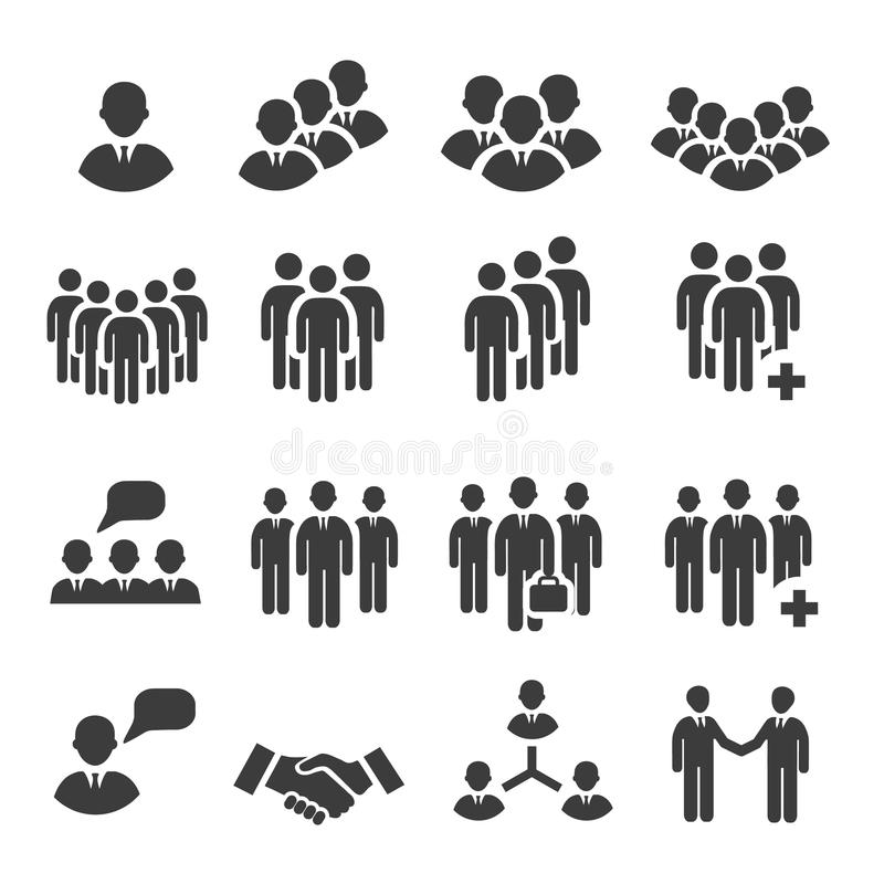 Crowd of people in team icon silhouettes vector illustration