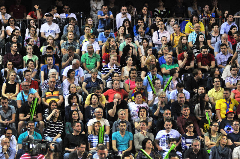 Crowd of people at a tennis match stock photos