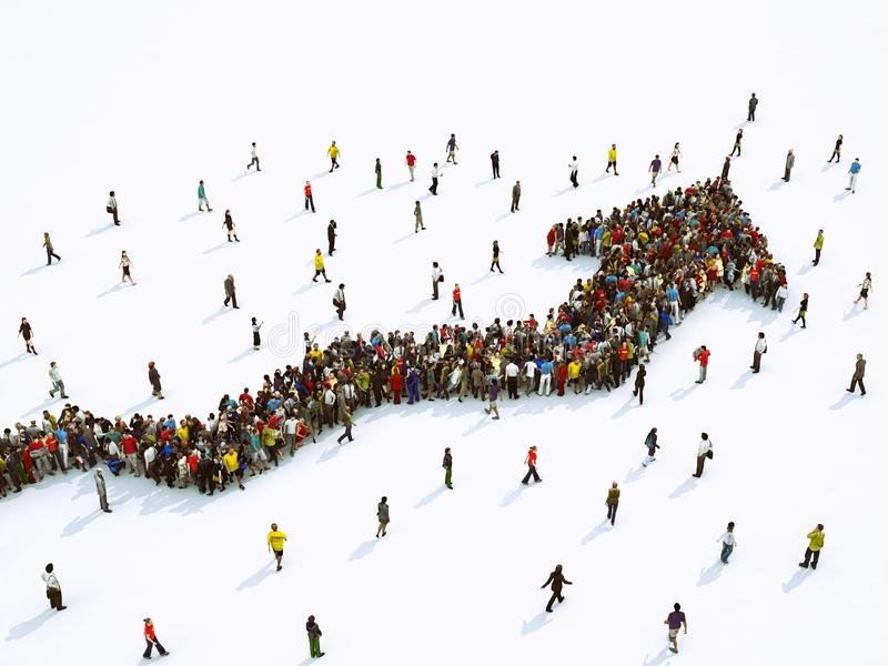 Crowd of people united forming a growing arrow. 3D Rendering. Multitude of people united to form an arrow. 3D Rendering stock illustration