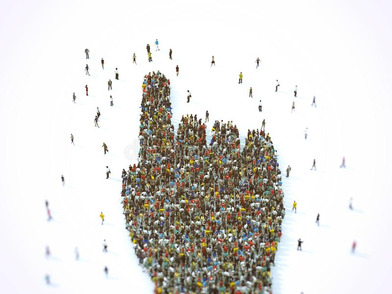 Crowd of people united forming a hand pointing. 3D Rendering. Multitude of people united in the same direction. 3D Rendering vector illustration