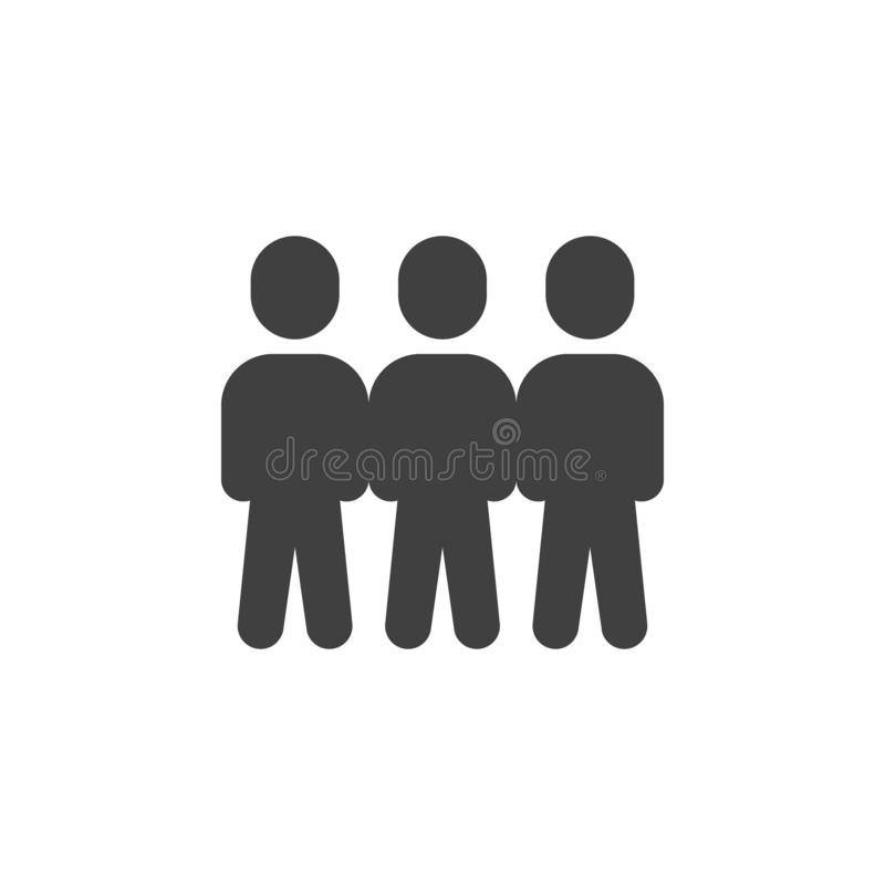 Crowd of people vector icon. Teamwork group filled flat sign for mobile concept and web design. Three people stand glyph icon. Symbol, logo illustration royalty free illustration