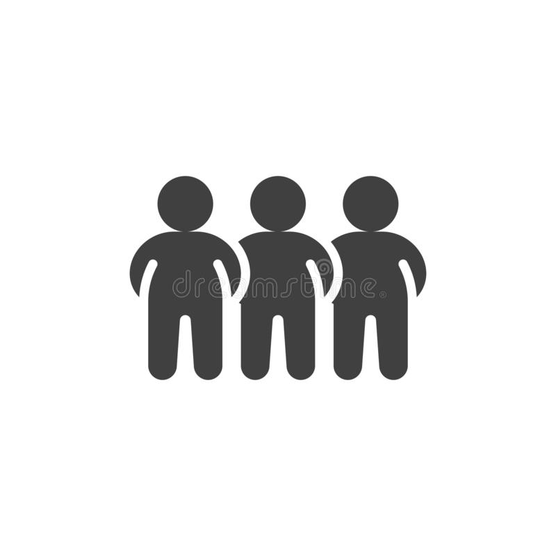 Crowd of people vector icon. Three men standing filled flat sign for mobile concept and web design. Teamwork group glyph icon. Symbol, logo illustration stock illustration