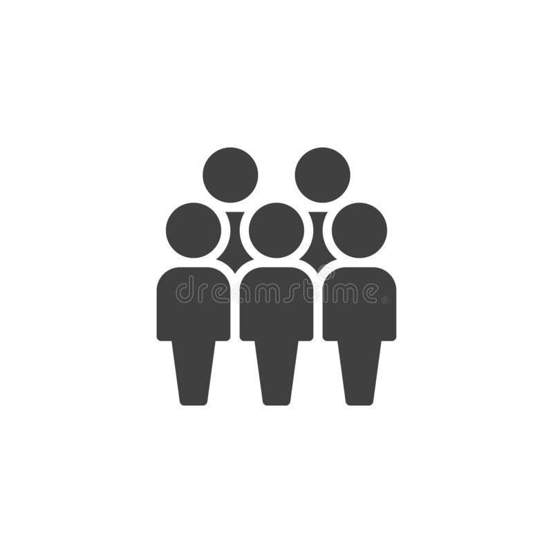 Crowd of people vector icon. Five person team filled flat sign for mobile concept and web design. People group glyph icon. Human resource symbol, logo royalty free illustration