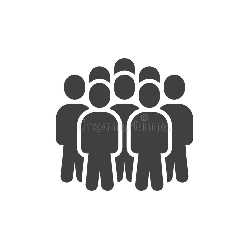 Crowd of people vector icon. Staff filled flat sign for mobile concept and web design. People group glyph icon. Symbol, logo illustration. Vector graphics royalty free illustration