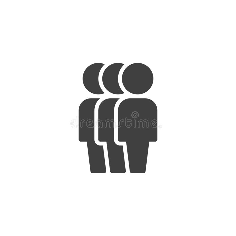 Crowd of people vector icon. Three Human silhouette filled flat sign for mobile concept and web design. Teamwork group glyph icon. Symbol, logo illustration stock illustration