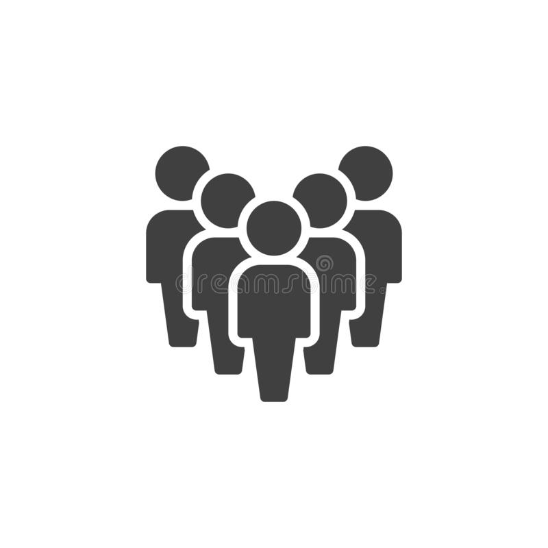 Crowd of people vector icon. Work group team filled flat sign for mobile concept and web design. Staff Group glyph icon. Symbol, logo illustration. Vector vector illustration