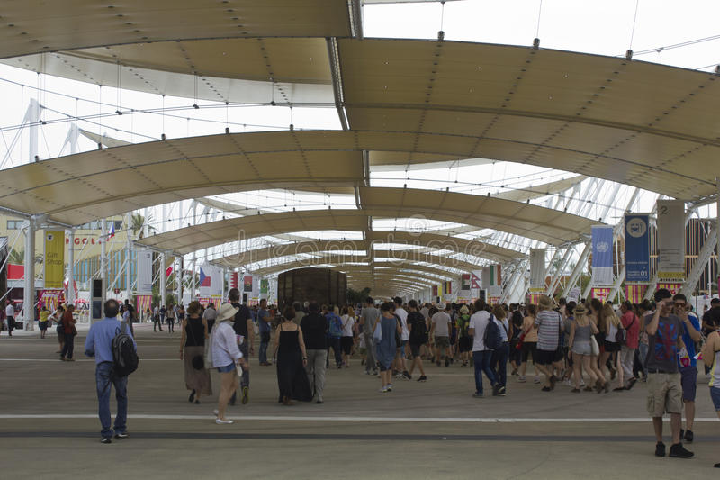 Crowd of people visiting Expo royalty free stock images