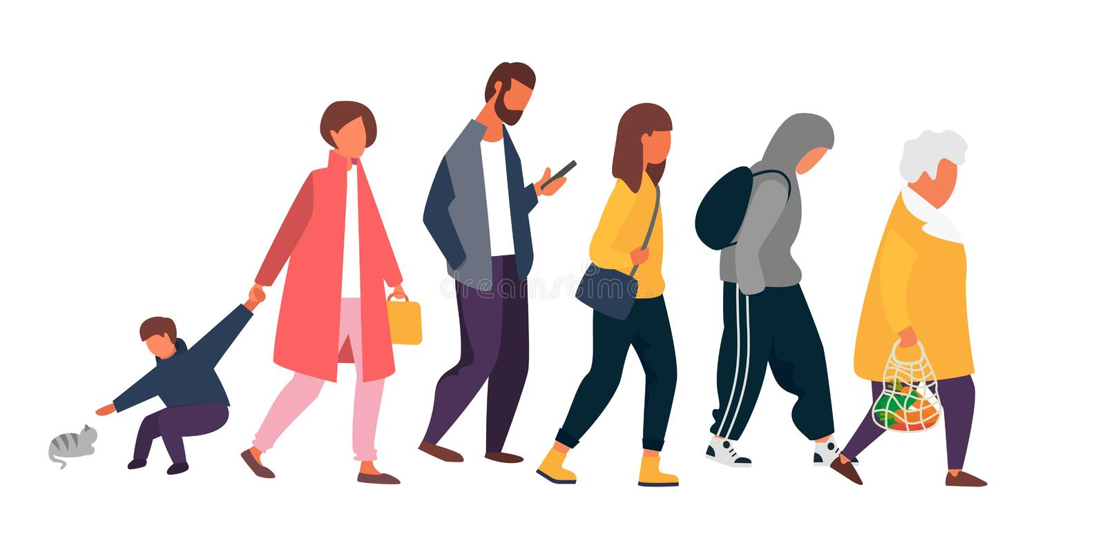 Crowd of people walking in autumn clothes. Vector illustration. Man, woman and kid characters. Crowd of people different ages walking in autumn clothes. Vector vector illustration