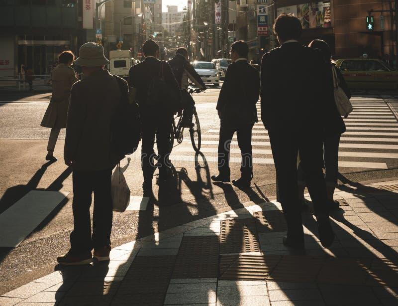 Crowd of people walking on city street crosswalk royalty free stock photo