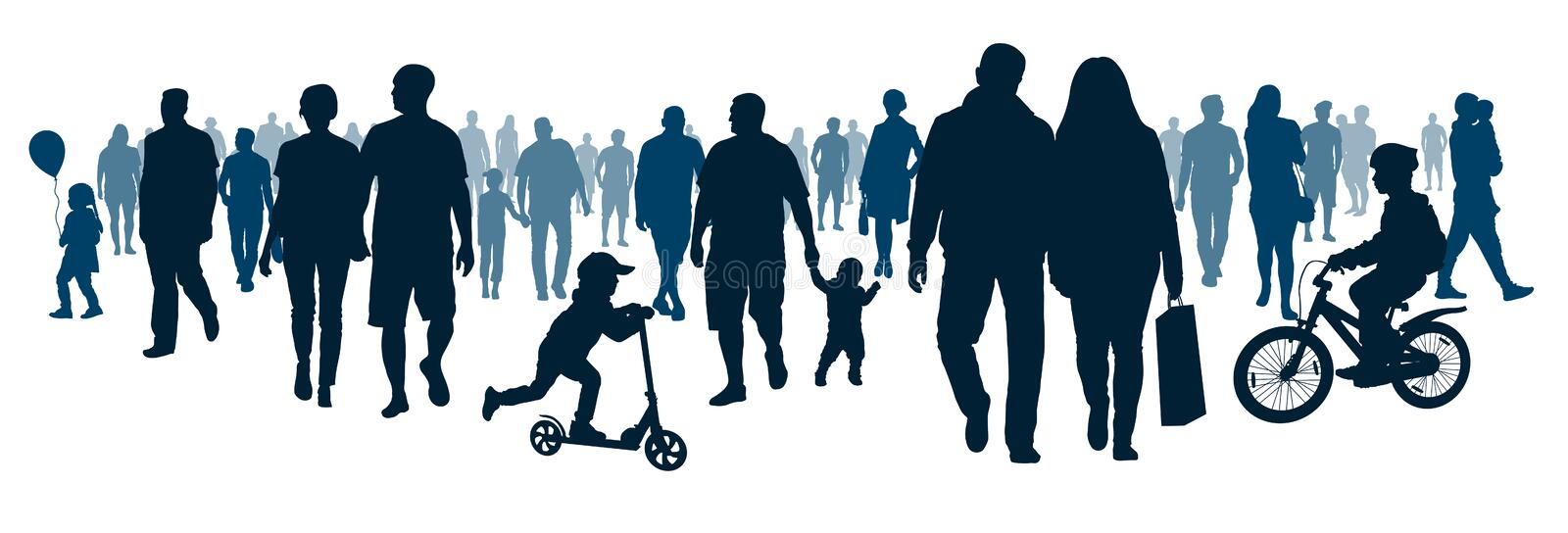 Crowd of people walking people are going. Mob go, meeting event. Moving big group people, silhouette vector stock illustration