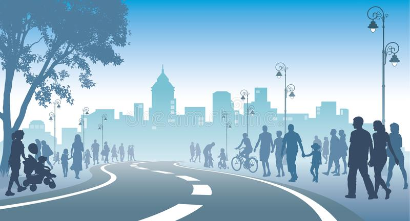 Crowd of walking people. Crowd of people is walking on a street, city with high buildings in the background vector illustration