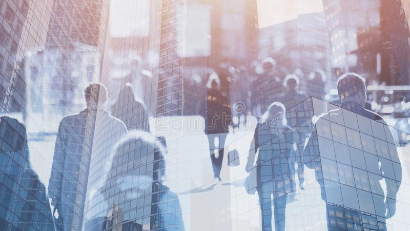 Crowd of people walking on the street, double exposure royalty free stock photography