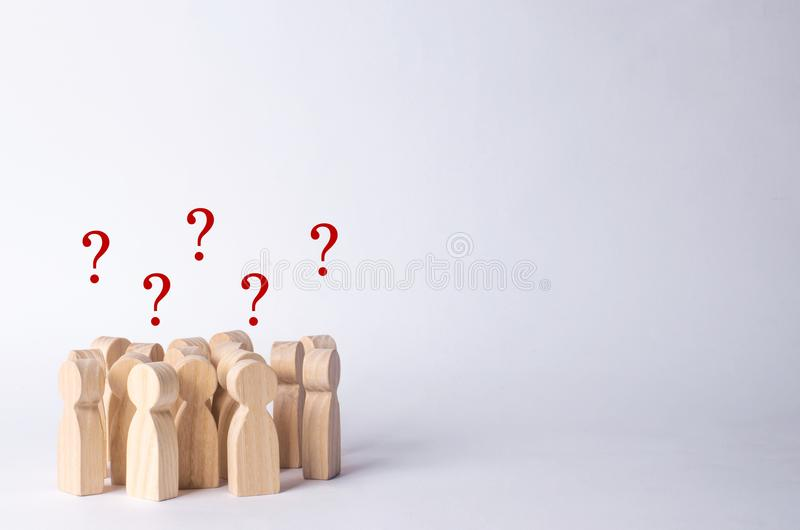 A crowd of people on a white background. People stand in the crowd and discuss. Cooperation and work together. Follows the leader, stock photo
