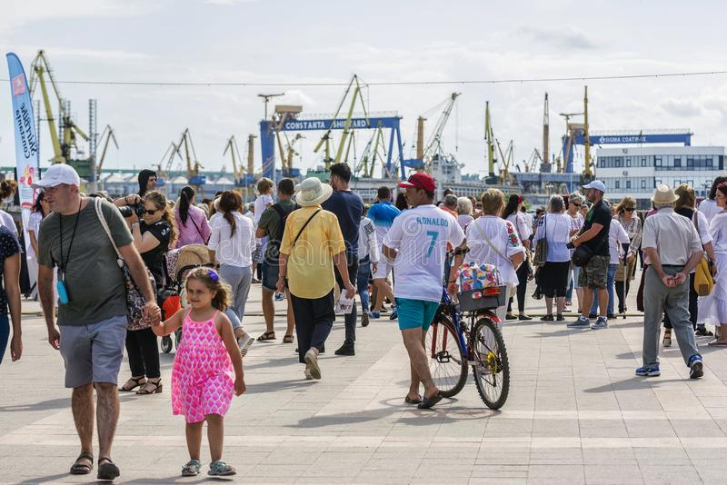 Crowd of people at `Ziua Iei ` - International Day of the Romanian Blouse at Constanta royalty free stock image