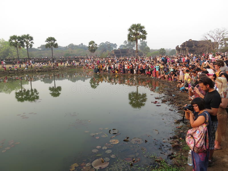 Crowd of photographers, Angkor Wat stock photo