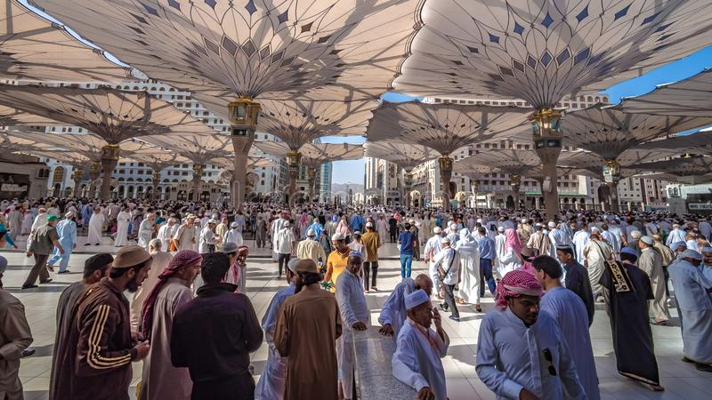 A Crowd Of Pilgrim At Medina Mosque stock photos