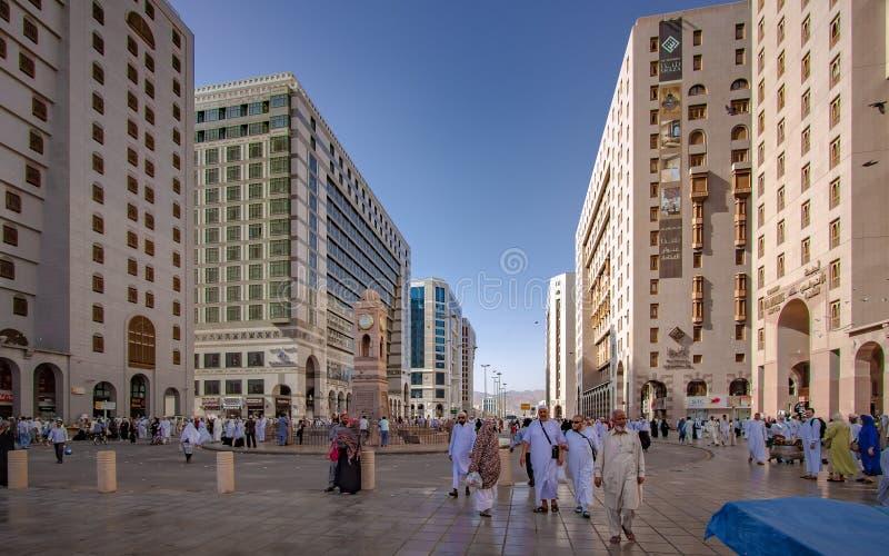 A Crowd Of Pilgrim At Medina Mosque royalty free stock image