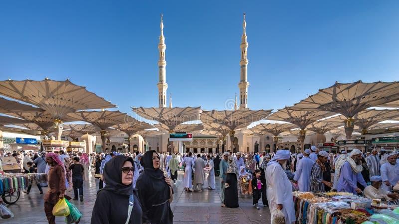 A Crowd Of Pilgrim At Medina Mosque stock image