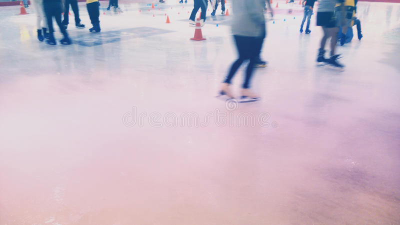 The crowd play Ice Skating royalty free stock images