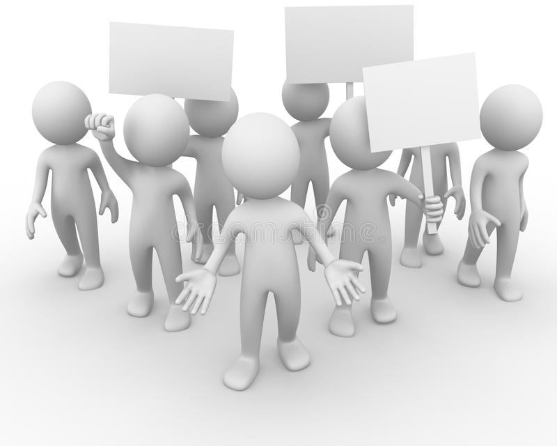 Crowd protesting. Computer generated image of a crowd protesting stock illustration