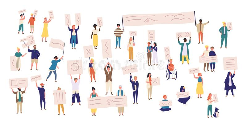 Crowd of protesting people holding banners and placards. Men and women taking part in political meeting, parade or rally. Group of male and female protesters vector illustration
