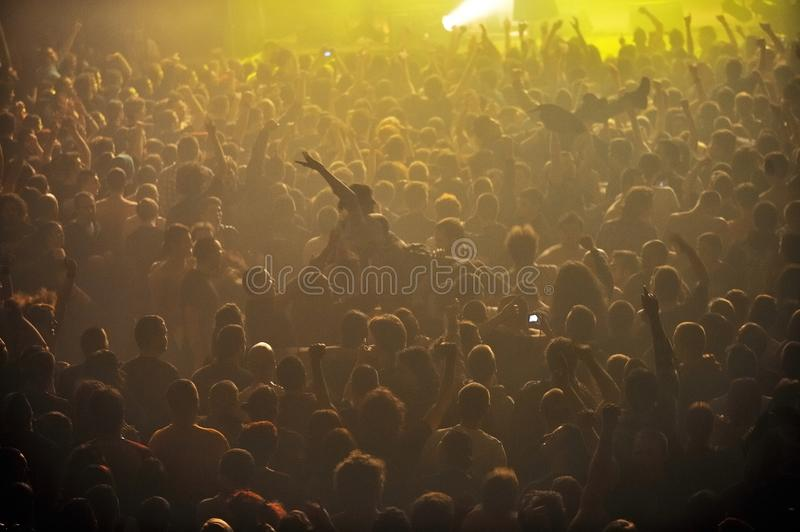 Crowd at punk concert stock image