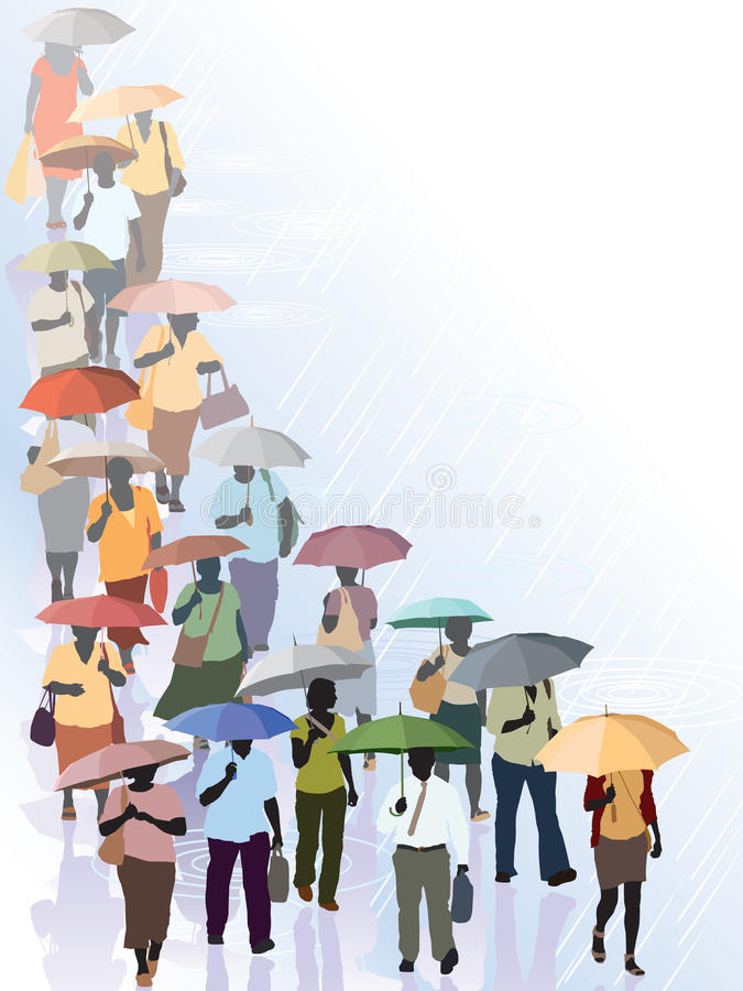 Download Crowd in rain stock vector. Illustration of people, person - 27205986