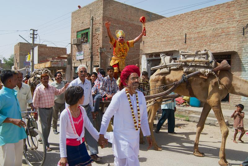 A crowd of Rajasthani people take part in a religious procession in Bikaner, India. royalty free stock image