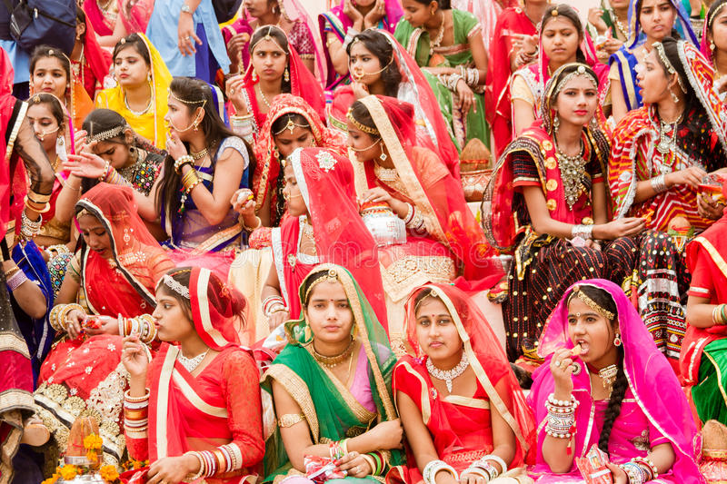 A crowd of Rajasthani women royalty free stock image