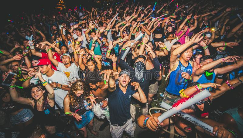 Crowd at a Rave. A massive crowd partying at a rave royalty free stock images
