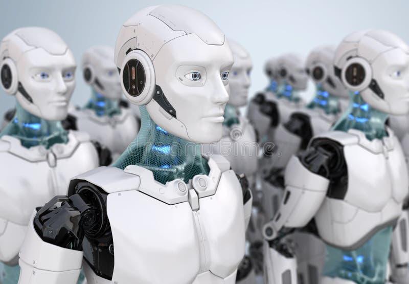 Crowd of robots royalty free illustration
