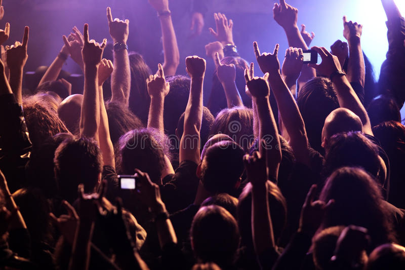 Crowd rocking on the concert stock photography