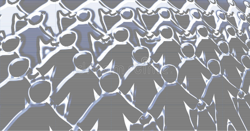 Crowd scene abstract. Weird abstract crowd scene background of faceless paperchain men. Scanline overlay. Plenty of scope for further image manipulation vector illustration